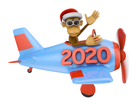 monkey with glasses on a blue airplane with an inscription 2020. 3d render.