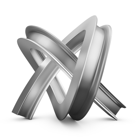metal beam knotted on a white background. 3d render Stock Photo