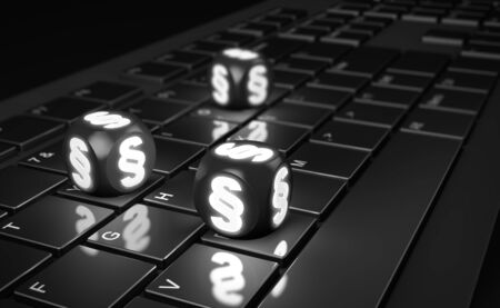 Cubes with paragraph sign on computer keyboard. 3d render Foto de archivo - 132053865