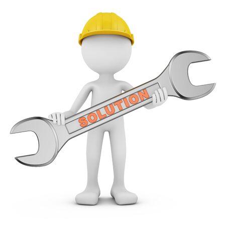 Man with wrench on white background. 3d render Reklamní fotografie