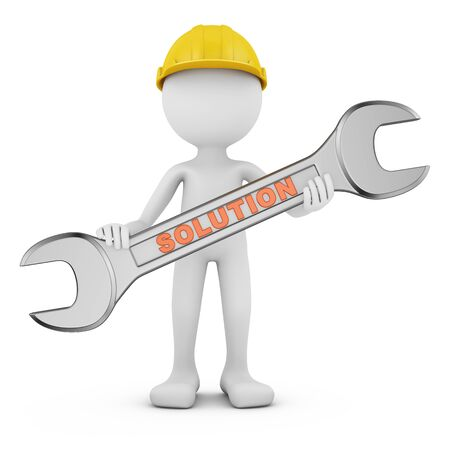 Mann mit Schraubenschlüssel auf weißem Hintergrund. 3D-Rendering Standard-Bild