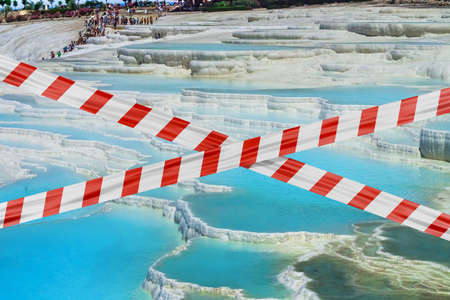 Protective tape on background calcareous minerals in Pamukkale Banque d'images
