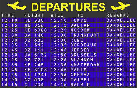 airport departure board with canceled flights. 3d render.