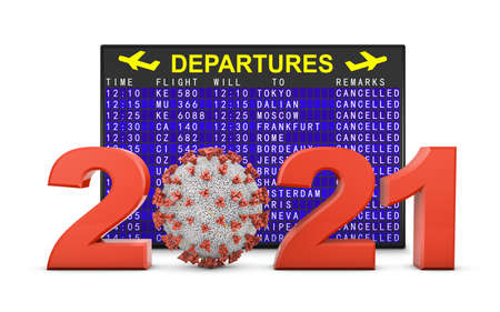 Coronavirus and 2021 volumetric figures next to the departure board. 3d render.