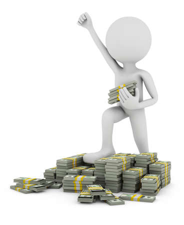 A man with a raised hand stands on piles of bundles of money. 3D rendering. Фото со стока