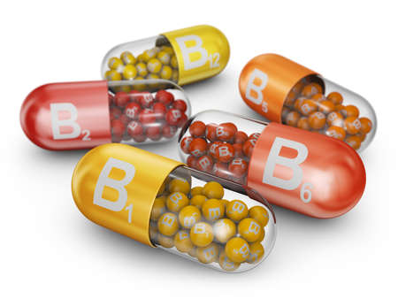 Close up capsules filled with B vitamins. 3D render.