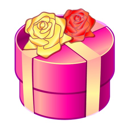 decoratio: bow gift on wedding, heart shaped Illustration