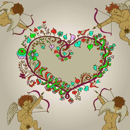 fig leaf: valentines day cupids arrow retrpo Illustration