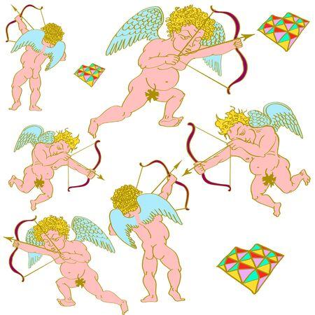 fig leaf: cupid heart valentines day cupids arrow, Illustration