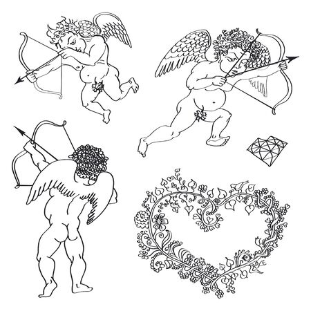 fig leaf: cupids arrow, arrows of cupid, vector elements,
