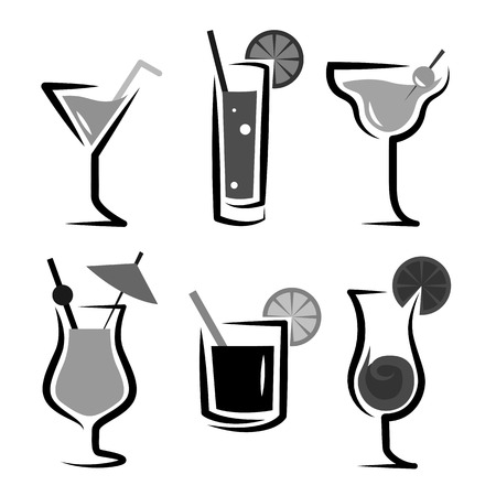 daiquiri: Different kinds of glasses with aperitifs