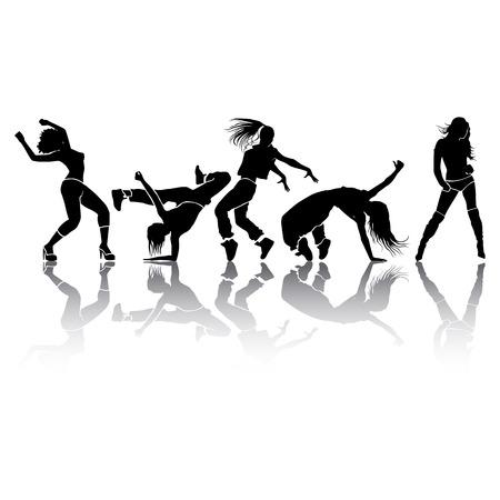 girl dance energy motion  Vector