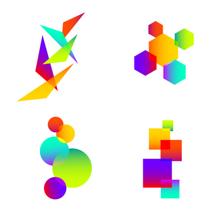 icosahedron: abstract color element idea symbol
