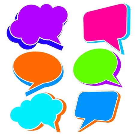 acronyms: Most common used acronyms and abbreviations on multicolored speech bubbles