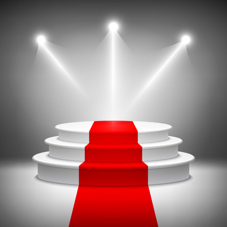 illuminating: Illuminated stage podium vector