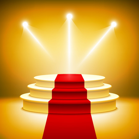 spotlight white background: Illuminated stage podium vector