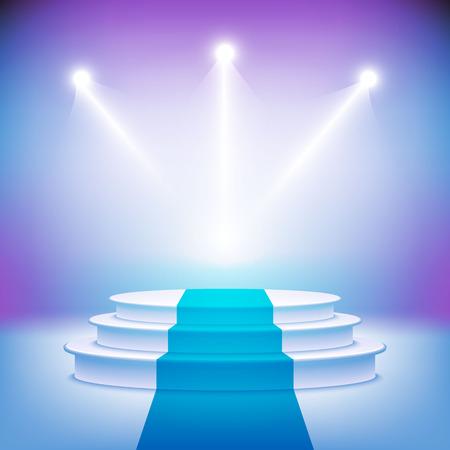 winner podium: Illuminated stage podium vector