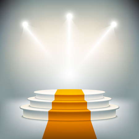 winners podium: Illuminated stage podium vector