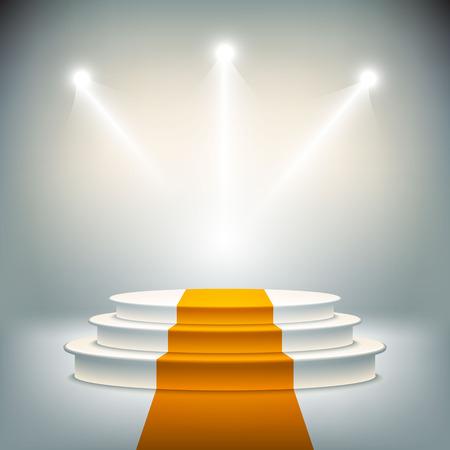 winners podium: Illuminated stage podium vector