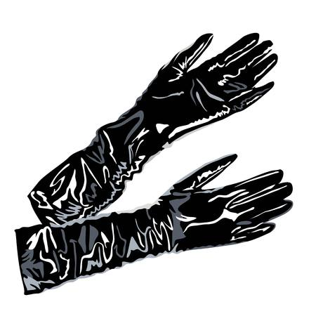 leather latex bag boots elegant  fashion accessories gloves illustration Vector