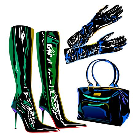 fashionably: leather latex bag boots elegant  fashion accessories gloves illustration Illustration