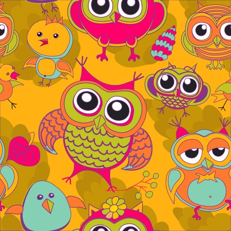 owl, bird, pink, tree, animal, leaf, drawing, illustration, color, branch, vector, art, green, abstract, flower, background, Vector