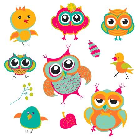 Búho, Pájaro, Rosa, árbol, Animal, Hoja, Dibujo, Ejemplo, Color ...
