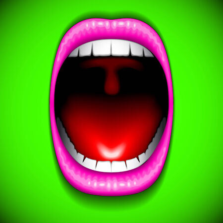 Mouth color open vector Vector