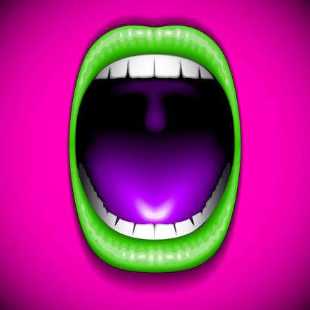 Mouth color open vector Vector
