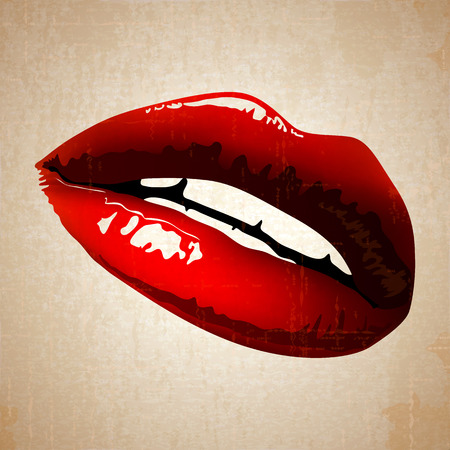woman close up: lips vector art vintage Illustration