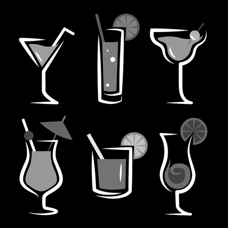 Different kinds of glasses with aperitifs Vector