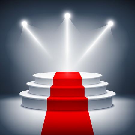 Illuminated stage podium vector