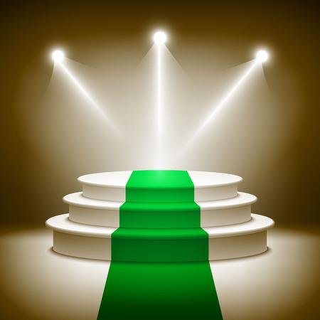 stage background: Illuminated stage podium vector