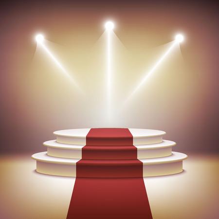 Illuminated stage podium vector Vector