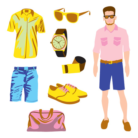 Hipster character pack for geek boy with accessory clothing vector Vector