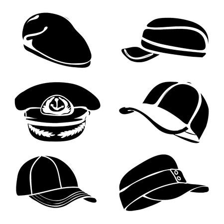 cap set isolated on white black  Vector
