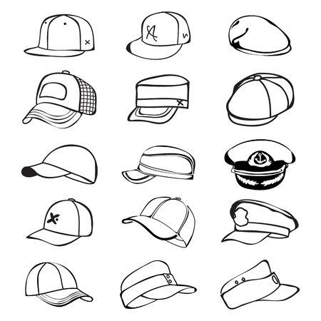 cap set isolated on hat icon vector baseball rap Vector