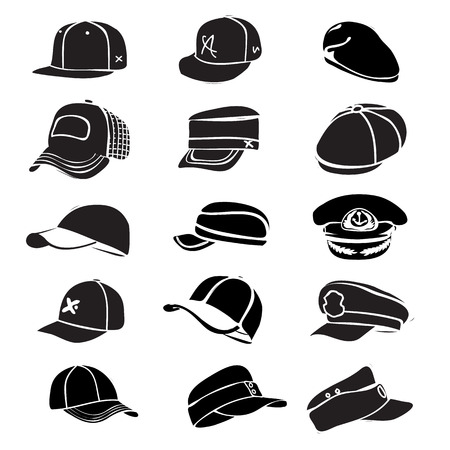 cap set isolated on hat icon vector baseball rap Vector
