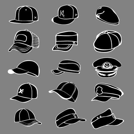 rap: cap set isolated on hat icon vector baseball rap