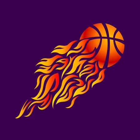 vector flame fire ball basketball symbol icon Vectores