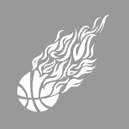 team sport: vector flame fire ball basketball symbol icon Illustration