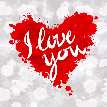 te amo: corazón, te quiero, pintura colorida del arte salpicaduras ilustración vectorial