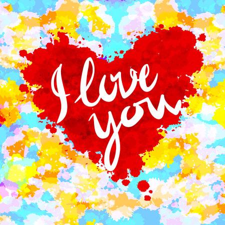 heart, i love you, colorful paint splash art illustration vector background Ilustração