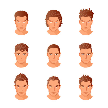 expressive style: Set of close up different hair style young men portraits isolated vector illustrations