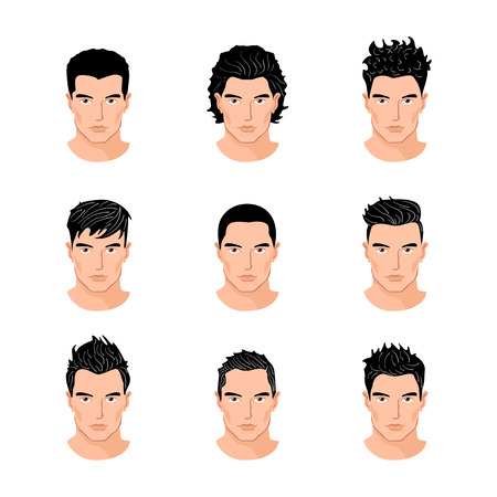 hair style: Set of close up different hair style young men portraits isolated vector illustrations