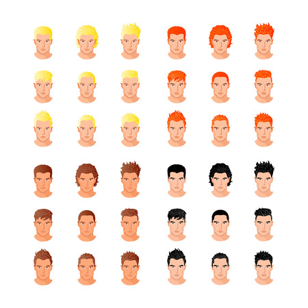 brown hair: Set of close up different hair style young men portraits isolated vector illustrations