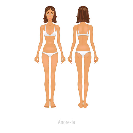 Slim girl is looking on her weight before mirror. Young slim girl looking on her figure before mirror. Vector Illustration. Vector