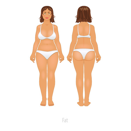 Fat and thin woman, vector illustration big white girl art Vector