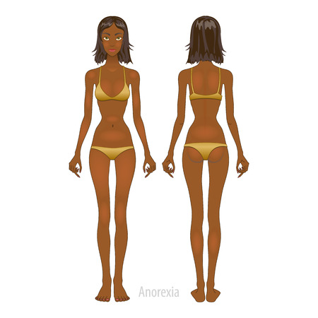 Fat and thin woman, vector illustration, normal, anorexia body art