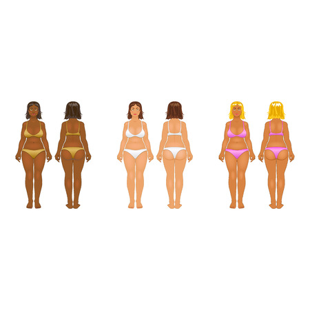 anorexia: Fat and thin woman, vector illustration, normal, anorexia body art